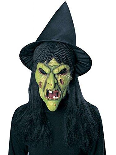 Maschera Halloween Carnevale Adulto Strega Maga Befana verde Rubies *15083