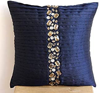 Designer Navy Blue Euro Sham Covers 26x26 inch, Silk European Pillow Shams, Striped, Pintucks, Textured, Striped, Crystals, Modern Euro Shams - Navy Blue Crystals