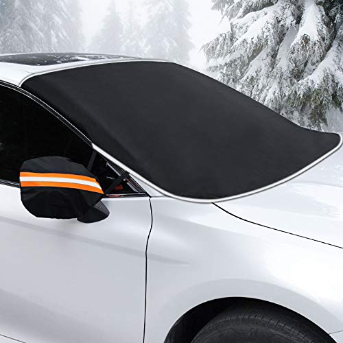 Coindivi Car Windshield Snow Cover for Ice, Trucks, SUV, Reflective Winter Snow Shield Car Window with Mirror Covers, Magnetic Waterproof Oxford Wiper Protector, All Weather Car Cover