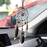 The Dream Catcher Tree of Life is Handmade in Brown. It is Hung on The Rear View Mirror of The car, Used for Bedroom Wall-Mounted Home Decoration, Wedding Party Blessing Gift (Gray)