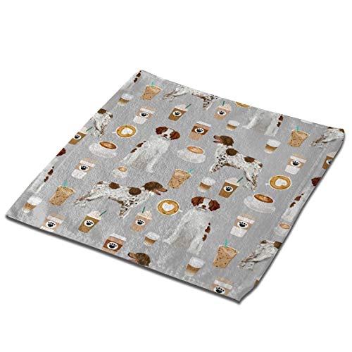 AIZENN Aizen Geschirrtuch-Set, 3 Stück, 33 x 33 cm, Bretagne Spaniel, Kaffeebrau, sehr saugfähig, maschinenwaschbar, Microfaser, Schwarz, Set 2
