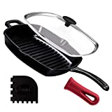 Cast Iron Grill Pan + Glass Lid - 10.5'-Inch / 26.67cm Pre-Seasoned Square Grilling Skillet + Silicone Handle Cover + Pan Scraper - Grill, Stovetop, Induction Safe - Indoor and Outdoor Use