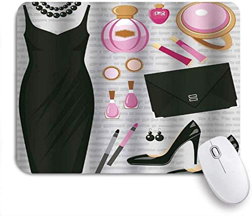 Gaming Mouse Pad rutschfeste Gummibasis, Absätze und Kleider Schwarz Smart Cocktailkleid Parfüm Make-up Clutch Bag, für Computer Laptop Office Desk