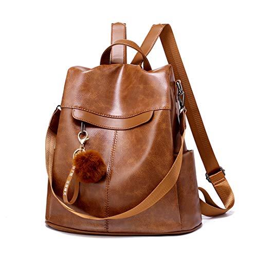 Mujeres Anti Theft Mochila Mochila Mochila Escuela Vintage Leather Bags Brown About 32cm-15cm-33cm