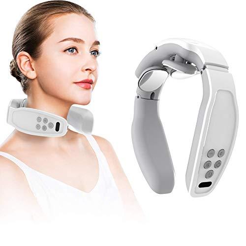 Nackenmassagegerät,Shiatsu-Nackenmassagegerät,Elektrisches Puls-Nackenmassagegerät, Elektrisches Nackenmassagegerät mit 4 Arbeitsmodi, drahtloses 3D-Reise-Intelligentes Nackenmassagegerät (Weiß)