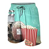 Bañadores para Hombre,Cine Teatro Producción Tema 3D Rollos de película Claqueta Entradas Palomitas Megáfono Swim Shorts Playa Shorts M