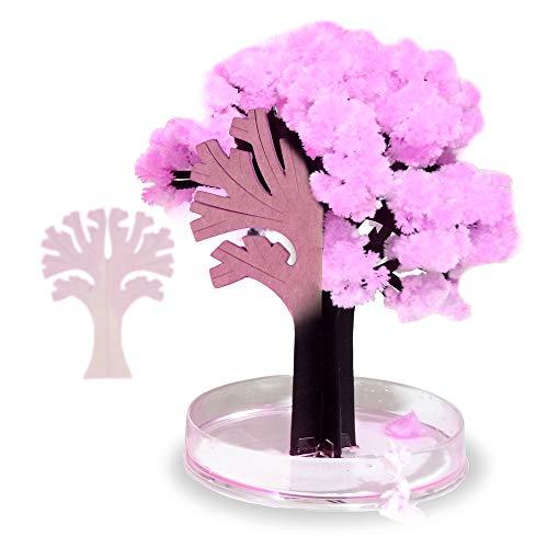 Monsterzeug Magischer Sakura Baum, Magic Tree Samen und Kristallwasser, Japanischer Kirschblüten Papierbaum für Zuhause, Höhe 13,5 cm