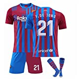 GDYJP Camiseta de fútbol Personalizada 21-22 Camiseta de Barcelona Versión Correcta Messi No. 10 Uniforme de fútbol Traje (Color : Home 21, Tamaño : M)