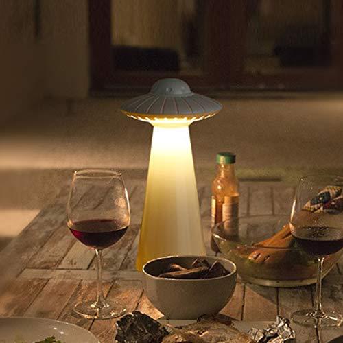 Lámpara de mesilla de noche,lámpara de mesa con forma de ovni Factorys Luz de noche inteligente para el hogar Luz de dormitorio de diseño creativo,lámpara de escritorio LED moderna para mesita noche