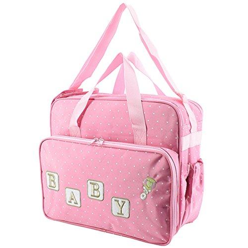 Jitong Multifunción Totes Bolsos Maternales de Hospital Bordado Gran Capacidad Bolsa de Pañales para Bebé (Rosado, 37 * 18 * 32cm)