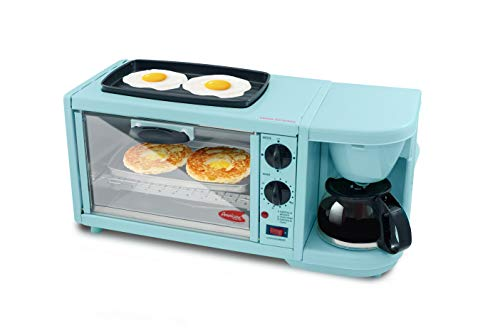 Elite Gourmet Americana Retro Nostalgia 3-in-1 Breakfast Maker Station 4 Cup Coffeemaker, Aqua Blue