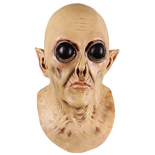 supremask Alien Costume Halloween Scary Saucer Hombre Disfraz Latex Disfraz Divertido Blanco (Old Alien)