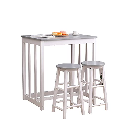 HOME MODERN Solid Pine Wood Bar/Pub Table and 2/4 Stools Set Kitchen Breakfast Dining Room Set Modern White/Grey (1+2-White+Grey)
