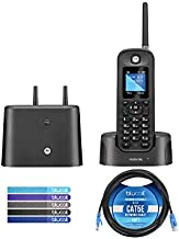Motorola O211 DECT 6.0 Long Range Cordless Phone with Digital Answering Machine and Inductive Charging Station Bundle with Blucoil 10-FT 1 Gbps Cat5e Cable, and 5-Pack of Reusable Cable Ties
