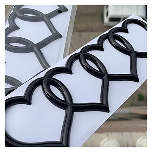Happy Shop Emblema De Repuesto Amor Corazones Insignia Estilo estilismo Recogida 4 Anillos Emblema Pegatina Medio Tronco Logotipo Negro Cromo Rosa Etiqueta del Emblema (Color : Chrome)