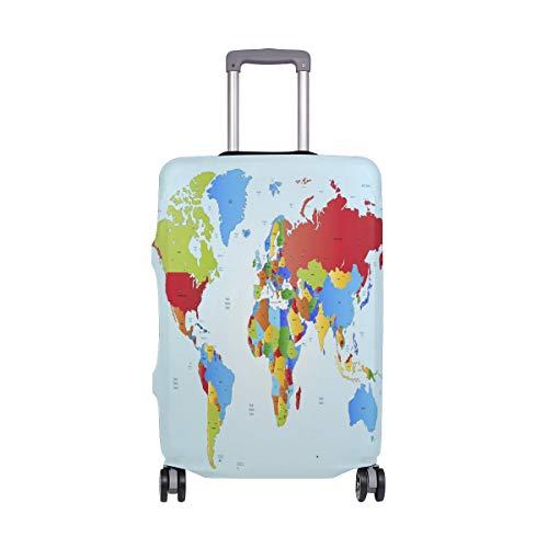 ALINLO - Funda Protectora de Viaje para Equipaje, diseño de Mapa del Mundo Educativo para Maletas de 18-32 Pulgadas