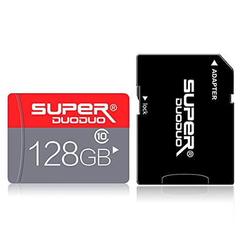 128GB Micro-SD-Karte 128 GB Klasse 10 TF-Karte Hochgeschwindigkeits-Speicherkarte mit SD-Kartenadapter für Kamera, Telefon, Computer, Dashcam, Fahrtenschreiber, Tablet, Drohne