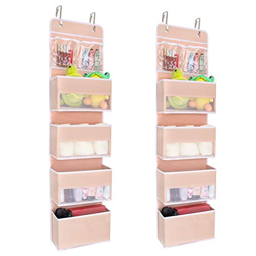 JARLINK 2 Pack 5-Shelf Over Door Hanging Organizer, Wall Mount Storage for Bedroom, Clear Window and PVC Pocket for Storage Cosmetics, Stationery, Sundries, etc (Pink)