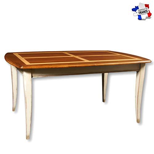 GONTIER tafel oviseerd, massief kersenhout, 100% gemaakt in Frankrijk. 160x77x110 Laque Blanc-crème et Plateau Merisier Teinte D