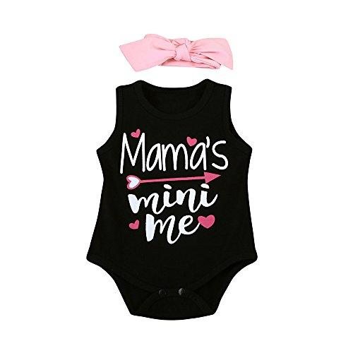 sunnymi 2 TLG Baby Mädchen Brief Mama's Mini Me Strampler + Stirnbänder Kostüm Sommer Für 3-18 Monate (Schwarz, 12 Monat)