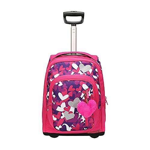 Trolley zaino scuola bambina Hearts fucsia, con i suoi cuoricini glitterati brilla di luce. 36L, barra regolabile in due altezze. Perfetto per scuola e viaggio.