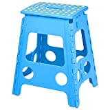 Macallen Plastic Folding Stool Kitchen Foldable Step Stool Footstool Large Bathroom Adults Stools 45 cm High Blue