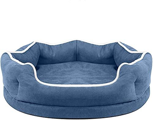 Rcsinway Pets Beds Deluxe Soft Dog, cesta cálida de invierno para gatos, colchón suave y cómodo, nido de cuevas para gato, perro, casa, nido, azul, pequeño (tamaño L, color: azul)
