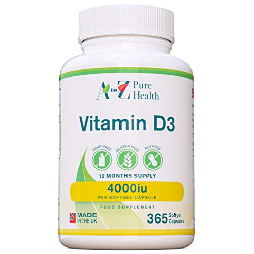 A to Z Pure Health Vitamin D 4000iu 365 Vitamin D3 Softgels | Immune Boosting Vitamin D Supplements | Made in The UK