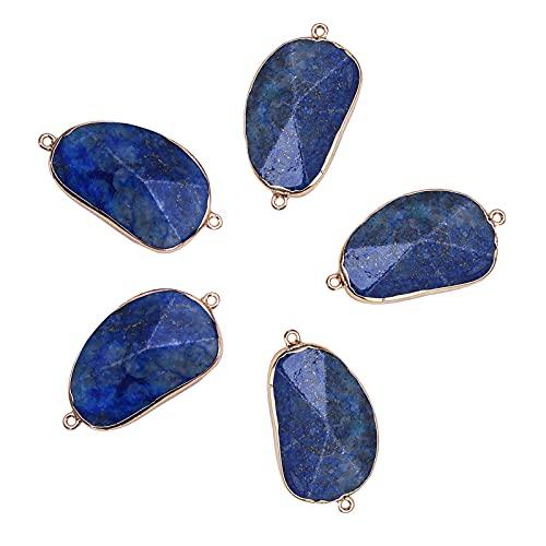Airssory 5 piezas de piedra de cristal de lapislázuli natural de piedras preciosas conectores de oro electrochapado encantos para collar, pulsera, pendientes de joyería - 45 ~ 46 mm