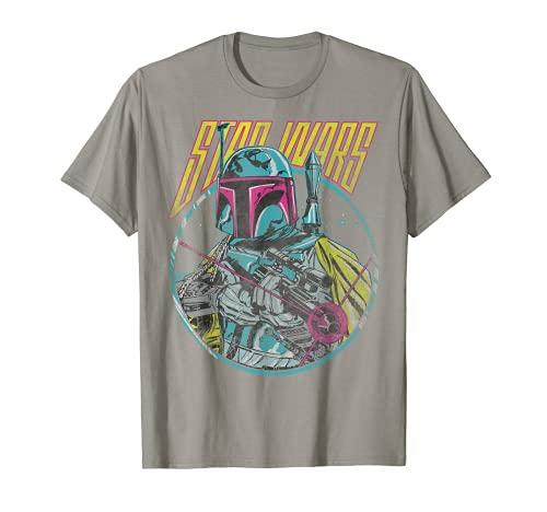 Star Wars Boba Fett Neon Blaster Vintage Graphic T-Shirt C2