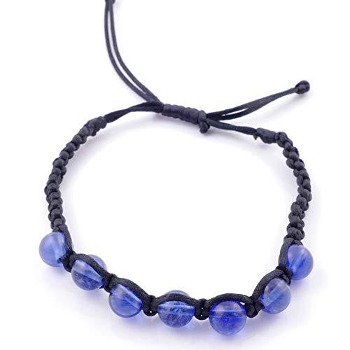 ARITZI – Pulsera con Nudo corredizo con Bolas de Piedra Natural de 8 mm – Piedras de Cuarzo Azul rutilado