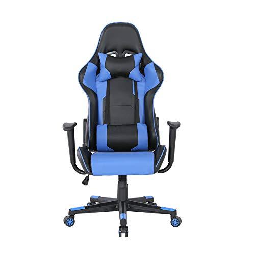 MUEBLES HOME Gaming Stuhl Computer Racing Büro Schreibtisch Stuhl PC Video Konferenzstühle Ergonomisches Design Hohe Rückenlehne Armlehne mit verstellbarer Höhe und Lendenwirbelstütze (Blau)