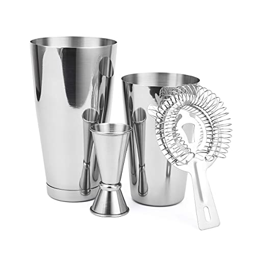 Cocktail Shaker Set: 4pc Boston Shaker Set with Premium Bartender 28oz Weighted & 18oz Unweighted Martini Drink Shaker, Japanese Jigger, Hawthorne Strainer - Stainless Steel Bar Tools - Cresimo