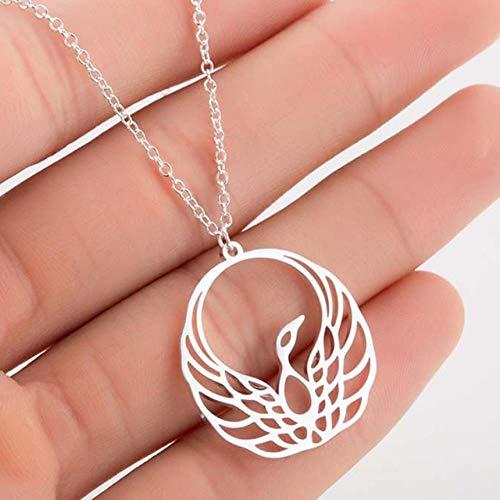 XCWXM - Collar de mujer de acero inoxidable Simple Love Cat Moon Mapa del mundo de declaración geométrica joyas collar con colgante niña hada oro rosa