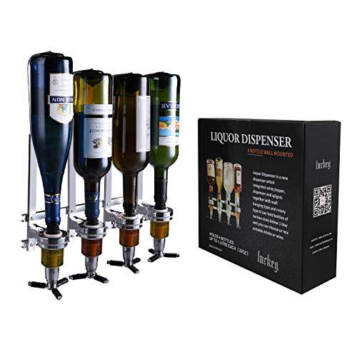 PERA - Dispenser per 4 bottiglie di liquore da parete, con staffa a parete, per bevande e birra, vino per bar e feste