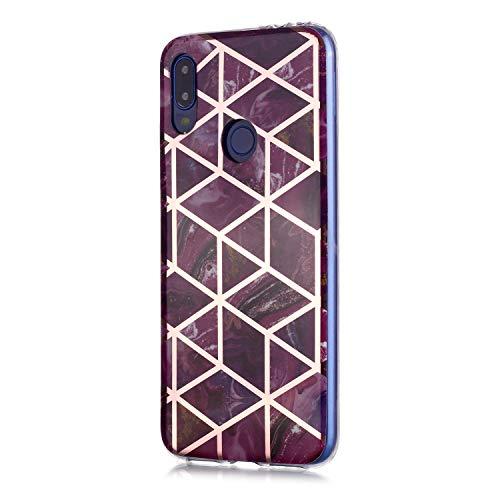 Fatcatparadise Funda para Redmi Note 7 [con Protector Pantalla], Carcasa Silicona Mármol Protector TPU Suave Anti-Choque Ultra-Delgado Funda para Xiaomi Redmi Note 7(Púrpura)