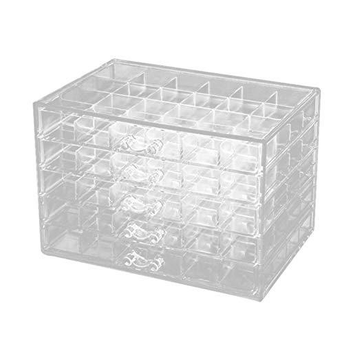 QEWRT 120 Rejillas Organizador de joyería Transparente Organizador de exhibición y empaque de joyería de acrílico Caja de joyería de 5 Capas Grande, Transparente