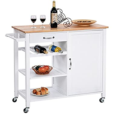 Giantex 4-Tier Kitchen Trolley Cart w/Wheels Rolling Storage Cabinet Wooden Table Multi-Function Island Cart Kitchen Truck White