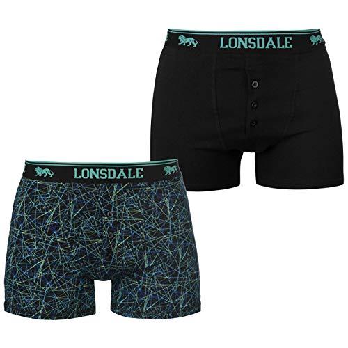 Lonsdale Herren Boxer Shorts Unterhose Unterwaesche 2 Paar Baumwollmischung Schwarz Druck 2XL