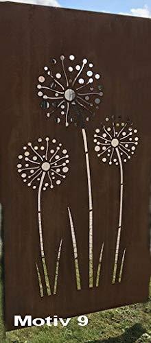 Design Gartenzaun Sichtschutz Rostelement SW0019 Allium (Metall)