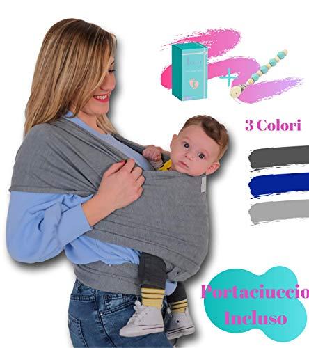 Fascia Porta Bebé Bambino Neonato LEOLEA Portaciuccio Incluso e Box Idea Regalo. Marsupio Neonati Cotone Elastico Naturale Morbido Baby Carrier Wrap