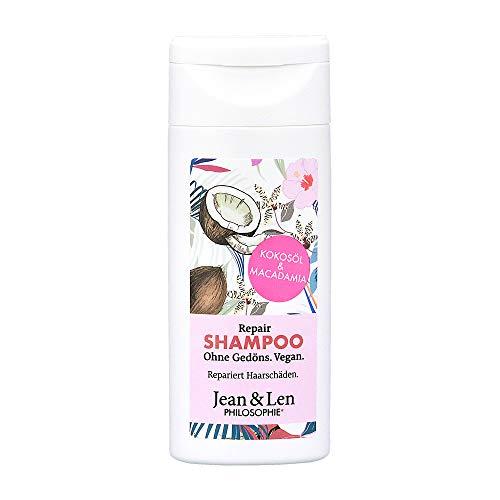 Jean & Len Philosophie Shampoo Repair Kokosöl, Macadamia, für geschädigtes & kraftloses Haar, repariert brüchiges Haar, 50 ml, 1 Stück