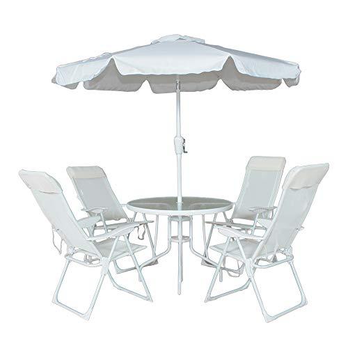 Conjunto Monaco 4 Cadeira Aluminio Textilene+mesa+guarda-sol Bel Fix