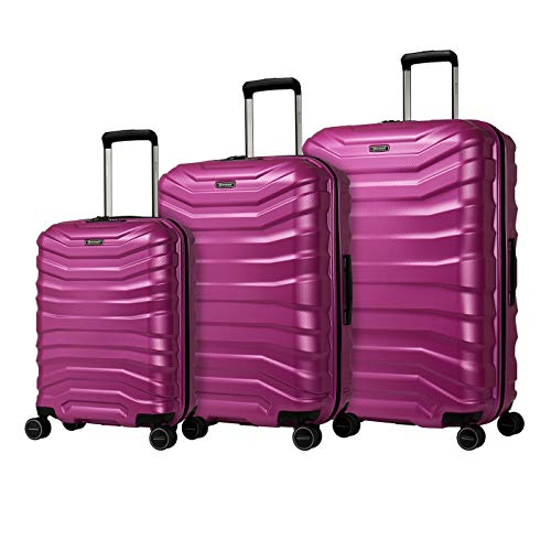 Eminent Luggage Set Aero 3pcs (1x Hand Luggage & 2 Check-in Travel Suitcases) Lightweight Hard Luggage 4 Double Silent Wheels TSA Lock Pink