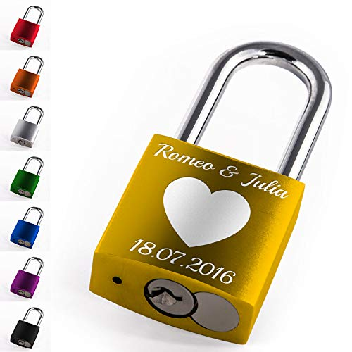 LIEBESSCHLOSS-DESIGNER Graviertes Liebesschloss mit Wunsch-Text und Schlüssel in Rot, Gelb, Grün uvm. Ideal für Paare oder besondere Anlässe. Ein personalisiertes Geschenk, das von Herzen kommt!