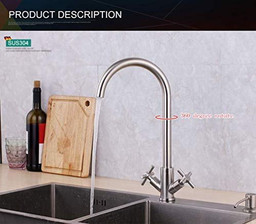Dubbele kruisgreep keukenkraan eenlokraan groente-waskraan voor warm en koud water met dubbele aansluiting eengat A B