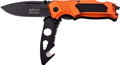 MTech USA Taschenmesser MT-A914 Serie, 2-fach Messer DESIGNER ORANGE ALU Griff, scharfes Jagdmesser, Outdoormesser 8,51 cm ROSTFREI DUAL Klinge Halbgezahnt, Klappmesser für  Angeln/ Jagd