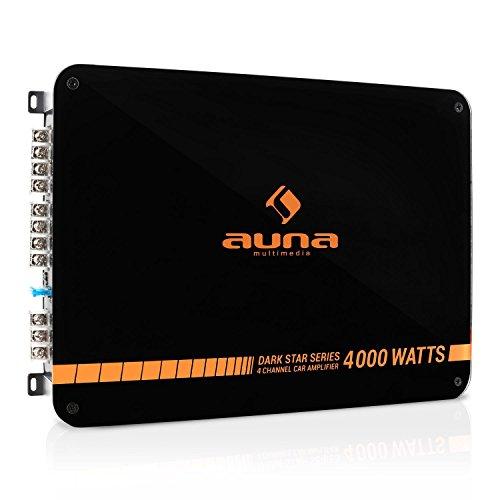 auna Dark Star 4000 - Auto-Endstufe mit 400 W RMS Leistung, New Edition, 4-Kanal Verstärker, Tiefpassfilter, Crossover Schalter, brückbar, Möglichkeit zum 4-, 3- und 2-Kanal-Betrieb, orange-schwarz