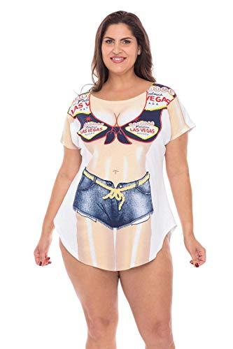 MerchMixer - T-shirts - T-Shirts - Women's Las Vegas Sign Fun2Wear Cotton Cover-Up T-Shirts - Regular