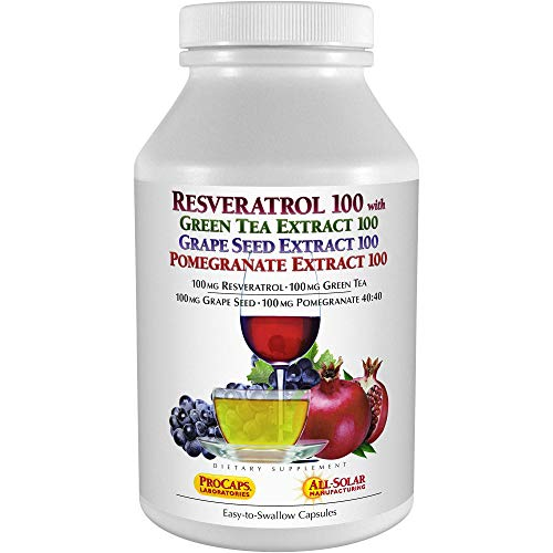 Andrew Lessman Resveratrol-100 with Green Tea 100 Grape Seed 100 Pomegranate 100-180 Capsules – Four Powerful, Protective Anti-oxidants. Supports Tissues, Organs, Cardiovascular, Nervous Systems